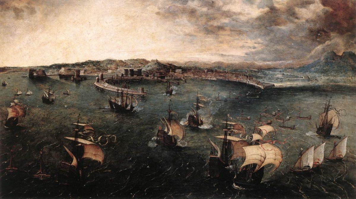Battaglia Navale nel Golfo di Napoli di Pieter Bruegel il Vecchio (1558-1562) | fonte: Wikimedia Commons